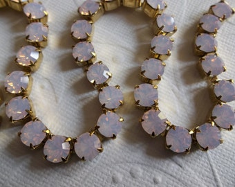 6mm Pink Opal Rhinestone Chain - Brass Setting - Rose Pink Opal Czech Crystals- Large Crystal Size 29SS