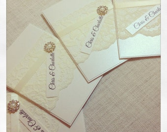 SAMPLE Ivory Vintage Lace Wedding Invitation & RSVP - with pearl and diamante cluster