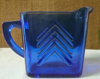 Vintage COBALT BLUE Milk PITCHER Art Deco Rectangular 2 cup Milk Pitcher Deep Blue Cobalt Serving Pitcher Chic Chevron Glass Table Pitcher