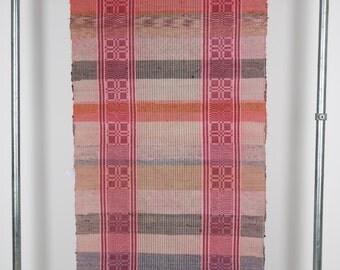 Vintage Hungarian Rag Rug. Pink Grey Orange Stripes  . Hall Runner. Very  Long Corridor Rug.