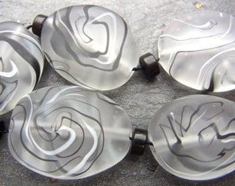 Monochrome - Handmade Lampwork Bead Set (5) by Anne Schelling, SRA