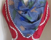 """Wow!! Large Burgundy Blue SH Nautical Silk Scarf // 35"""" Inch 92cm Square // Best of the Best"""
