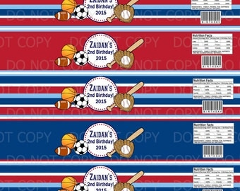 Printable Sports Theme Birthday Water Bottle Labels