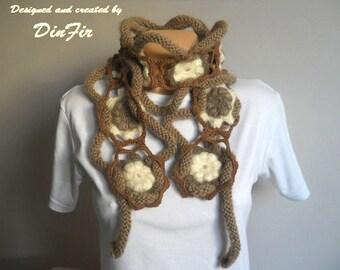 CROCHET SCARF / Women Accessories Scarves Loop Elegant Hand Knitted Romantic Neckwarmer / Winter Warm Gift Ideas Muffler Feminine Handmade
