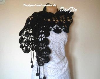 CROCHETED WARM SCARF / Women Accessories Scarves Loop Elegant Neckwarmer / Hand Knitted Romantic Muffler Feminine Winter Gift Ideas Chic