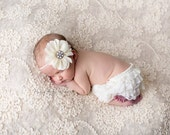 Ivory Bloomer and Headband Set, Newborn Photo Prop, Baby Girl Prop, Lace Bloomers, Diaper Cover, Photography Prop, MANY COLOR OPTIONS