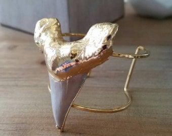 M A N E A T E R// shark tooth cuff in 24k gold plate