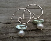 Light green and white stacked pearl on hammered sterling silver spiral earrings