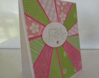 Sunburst Birthday card in pink and green