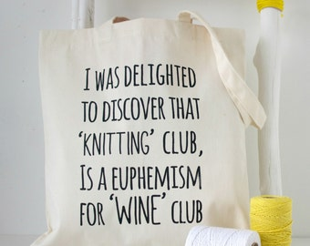 Knitting Club - funny knitting project bag tote