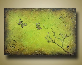 60 PERCENT OFF Textured Painting of Butterflies and Cherry Blossom Branch - Raised Stencil - 12x18 by Britt Hallowell