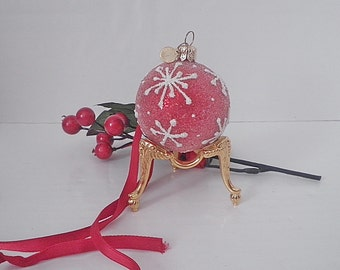 Vintage Gilt Ornament Egg Display Holder Orb Sphere Stand