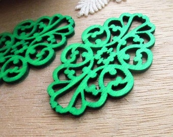 WP06 / # 6 Jade Green / Filigree Wood Lace Pairs for Earring / Filigree Laser Cut Lace Wooden Charm /Pendant /Colorful Wood jewelry Findings