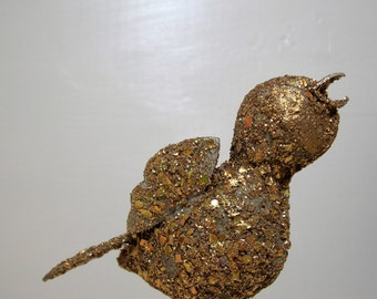 Gold Glitter Bird Ornament Retro Christmas Tree