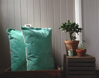 vintage green canvas cushion - oblong - made in australia - 8