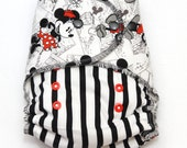 One Size Hybrid Fitted Cloth Diaper with Mickey and Minnie fabric