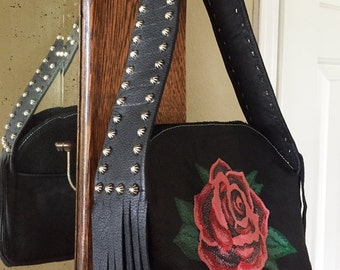 Leather Handbag Black Rose Purse