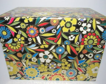 Retro Floral Square Tin File Box
