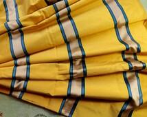 1/2 yard Vintage French Pure silk striped fabric rich yellow satin blue gold stripe Colonial  woven  Regency dress yardage