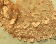 Vintage Antique ecru lace embroidered cotton rayon tulle 1920  flapper lingerie sheer french trim