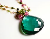 LP 1270 Stunning Emerald Green Heart Shaped Quartz, Hand Crafted Vermeil and Tourmaline Chain OOAK Necklace