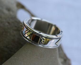 Wedding Rings, Unisex Silver Ring, Spinning Ring , Sterling Silver Ring,  Gold Spinner Ring,