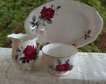 Vintage Royal Albert Sweet Romance Creamer and Sugar with Tray