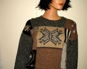 GORGEOUS  Hipster Fall Winter Eddie Bauer Wool and Nylon Blend Elaborate Knit Sweater Size Medium