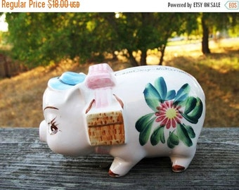 Super Cute Shabby Chic 1950s Hand Painted Calif Pottery Style  Little Piggy  Cash Only No Returns Bank With Rubber Stopper