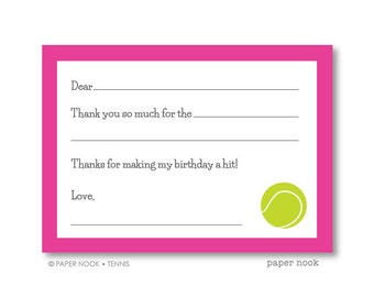 Tennis PRINTABLE Fill-in-the-Blank Thank You Note