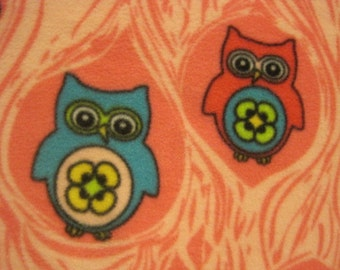 Owls on Pink with Blue Handmade Blanket - Ready to Ship Now