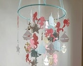 Baby Mobile Colorful Coral Salmon Aqua Silver Gold Sailboat Mermaid Ocean Seahorse Nautical Baby Nursery CUSTOMIZE colors  size and Designs