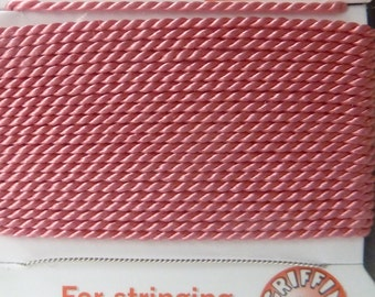 Pink Silk Beading Cord, Size 12, Needle Attached, Griffin Pure Silk Thread