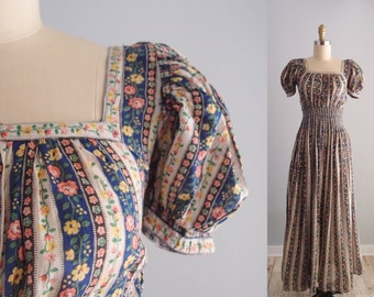 1930s dress / 30s puff sleeve ruched waist gown long maxi dress tiny floral print stripes ... XXS