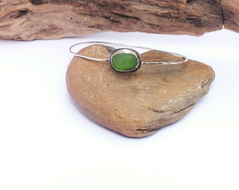 Sterling Sea Glass Bangle - Lake Erie Beach Glass - FREE Shipping inside the United States