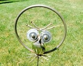 Owl recycled garden yard stake