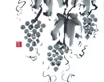 Original Sumi Brush Painting - Grapes Galore, Black & White, Wine, Vineyard, Japanese, Brush, Ink, Expressive, kitchen, Wall Art, Home Decor