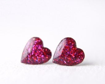 tiny dark pink glitter earrings, glitter resin posts, sterling silver post earrings, nickel free posts, valentine's day gift - SMALL SIZE