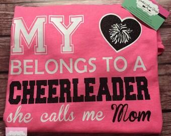 Cheer mom shirt, My Heart Belongs To a Cheerleader Shirt, Cheer Mom Shirt, My Daughter cheers, Mom's Heart Cheer Shirt