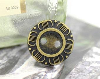 Metal Buttons - Petals Edge Metal Buttons , Antique Brass Color , 2 Holes , 0.75 inch , 10 pcs