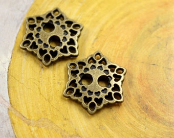 Metal Buttons - Hearts Filigree Metal Hole Buttons , Antique Brass Color , 0.67 inch , 10 pcs