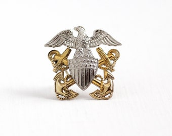 Vintage Sterling Silver & 12k Yellow Gold Filled United States Navy Officer Brooch Pin - 1940 WWII USN Military Double Anchor Eagle Jewelry