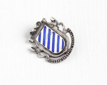Sale - Antique Sterling Silver Blue Guilloche Enamel Sociedad Sportiva Argentina Pin - Vintage Edwardian 1910 Hemming Shield Jewelry Brooch