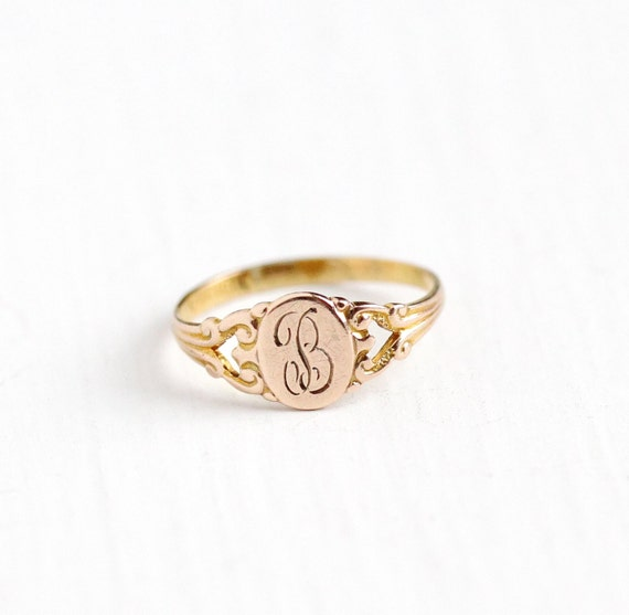 B Letter In Gold Ring Sale Vintage 10k Rosy ...