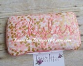 Shades of Pink and Metallic Gold Confetti Dots, Travel Baby Wipe Case, Pink Coral Blush Gold, Brambleberry, Baby Shower Gift, Personalized