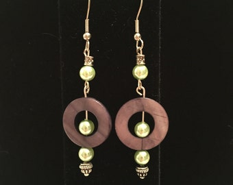 Green Pearls and Shell bead dangle earrings
