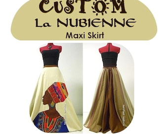 CUSTOM La Nubienne Maxi Skirt,  OOAK Bohemian Art to Wear, Paneled Drawstring Maxi Skirt, Unique Barefoot Modiste Style, Handmade to Order