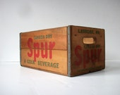 Vintage Wood Beverage Crate / Canada Dry SPUR / Storage Organization / Advertising Crate / Old Wood Crate / Delivery Crate / Shipping Crate