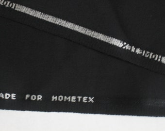 "Fabric Black Imported French Gabardine 3 yd x 60"" Wide Worsted Wool"