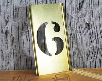 Brass Stencil Number 6, No. 6, Vintage Stencil